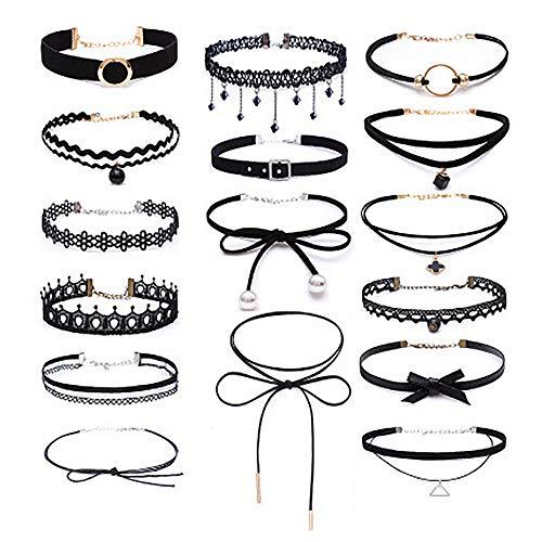 Yakiki Choker-Set, Spitzen- und Tattoo-Optik PU Halsband Tattoo-Kette Schmuck-Sets Damen-Schmuck Velvet Halskette, Schwarz, 16 Stück