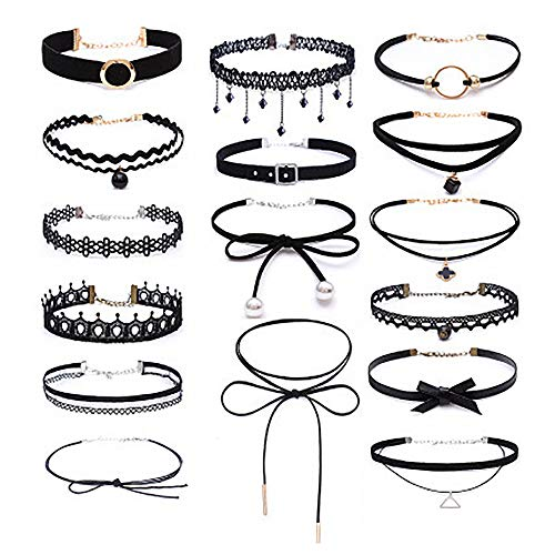 Choker Set, 16 PCS Womens Black Velvet Choker Necklace Set Classic Gothic Tattoo Lace Chokers