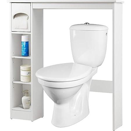 Costway Meuble de Rangement de Salle de Bains,Armoire avec Etagères Ajustables Installable au Dessus du Toilette, avec Porte-Papier (4 Etagères)