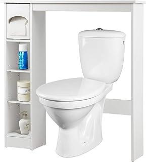 Costway Meuble de Rangement de Salle de Bains,Armoire avec Etagères Ajustables Installable au Dessus du Toilette, avec Por...