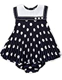 Bonnie Jean Little Girls 0-3M - 24M Easter Navy Sailor Nautical Crystal Pleated Dress and Panty, 12M