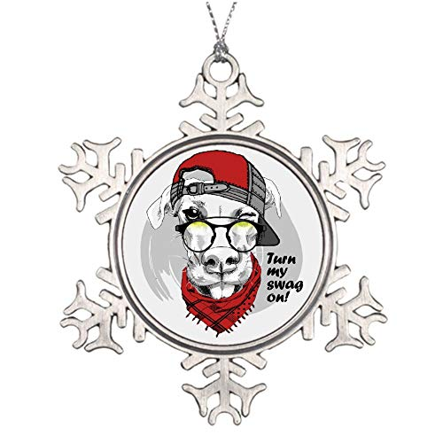 wendana Cool Pug Turn My Swag On - Adornos navideños de Peltre para árbol de Navidad