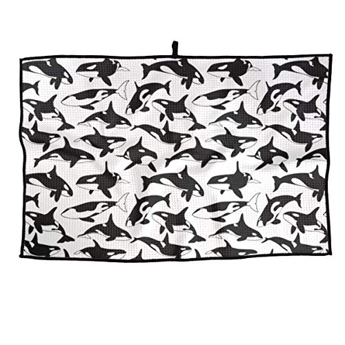 NVCBHk Orcas Whale Soft Comfortable Microfiber Golf Towel Ultra Compact Absorbent Sport Towel - for Yoga, Sport, Running, Gym, Workout,Camping, Fitness
