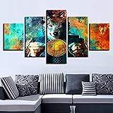 Diy 5D diamante pintura arte de la pared imágenes de diamantes de imitación decoración del hogar 5 piezas señor lobo y bitcoins pintura impresa color abstracto moneda cartel redondo diamante