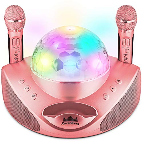 KaraoKing Karaoke Machine with 2 Wireless Karaoke Microphone - Best Gift for Adults or Kids - USB, SD Card and Bluetooth Compatible, with Disco Ball Lights for DJ Singing Party - G308 Pink