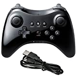 Poulep Wireless Controller Compatible for Wii U Pro Console Dual Analog (Black)