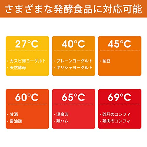 Hismile コンパクトヨーグルトメーカー 25~69℃温度調節/1~99時間タイマー設定 甘酒 低温調理にも対応 進化した独自の立体加熱構造 日本品質保証とサービス レシピ付き 1L専用容器、計量カップ、スプーン、牛乳パック用フタ 日本