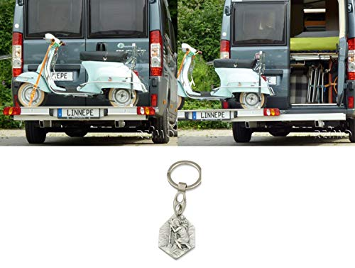 Zisa-Kombi Motorradträger für Ducato Kastenwagen Länge: 6,0Meter (93298846625) mit Anhänger Hlg. Christophorus