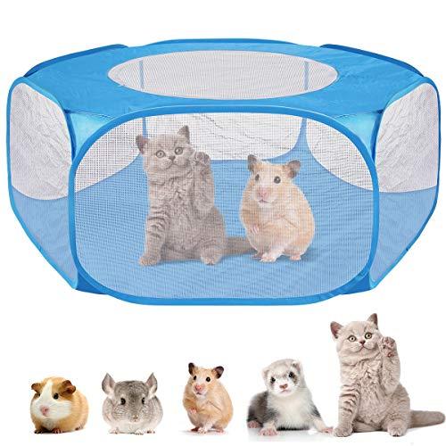 Ruiqas Huisdier Playpen Kleine Dierenhek Kooi Tent met Rits Cover voor Hamster Chinchillas Guinea-Varkens 120cm Blauw