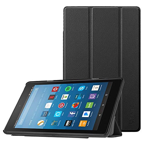 Fintie Hülle für Amazon Fire HD 8 Tablet (7. & 8. Generation - 2017 & 2018) - Ultradünne Lightweight Schutzhülle Tasche mit Standfunktion & Auto Schlaf / Wach Funktion, Schwarz