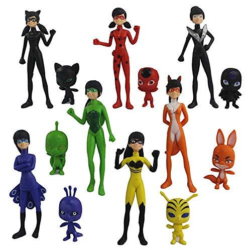 Kinda Inc 14 pcs Ladybug Action Figure - Ladybug and cat Noir Miraculous Action Figures - Miraculous Ladybug Toy Set Minifigures - Ladybug Tikki Dolls 14 Set – Miraculous Toys