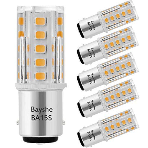 Bayshe 3W 12V BA15S S8 SC Bayonet Single Contact Base 1156 1141 LED Light Bulb 2700K Warm White,Low Voltage AC/DC 12volt Landscape Path Deck RV Camper Marine Boat Trailer Lighting-Pack of 5
