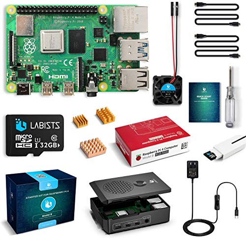 LABISTS Raspberry Pi 4 4GB Kit (Certified Technical Compliance) MicroSDHC Card 32G/Raspbian System Pre-Installed Card Reader/5.1V/3A Power Supply with Type-C Switch/Micro HDMI to HDMI Cable Line/Three Heat Sinks/Easy Installation Case/Japanese Instruction Manual (4GB RAM)