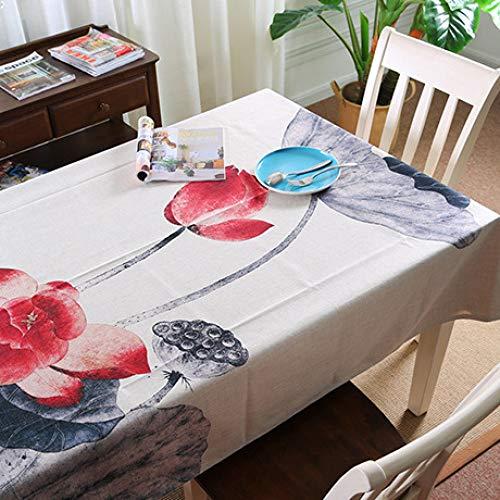 Mantel de Loto Chino clásico Mantel Rectangular Mezclado de algodón y Lino Adecuado para la decoración de la Cocina del hogar