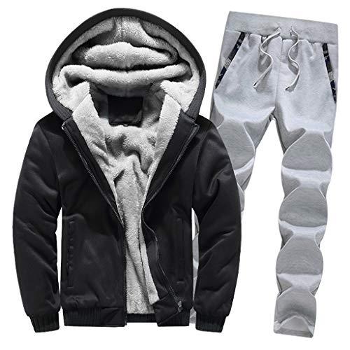 LoveLeiter Jogging Herren Sportanzug Jogging Trainingshose+Jacke Sweatjacke Hose Hoodie Winter Warm Fleece Zipper Sweater Jacke Sport Hose Fitness Hoodie Hose Jacke Outwear Mantel Top Hosen Sets