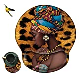 Mouse Pad with Wrist Support Rest,Rossy African Women Design Ergonomic Gaming Mousepad Non-Slip Rubber Base Wrist Cushion for Office Computer Laptop + Coasters and Cute Stickers