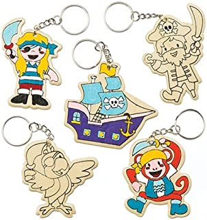 Baker Ross Pirate Wooden Color in Keyrings (Pack of 6) Kids to Make & Decorate