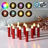 CCLIFE GS/CE LED Weihnachtskerzen Kabellos RGB Kerzen Bunt Weihnachtsbaumkerzen Christbaumkerzen mit Fernbedienung Timer Kerzenlichter, Farbe:Rot, Größe:20er