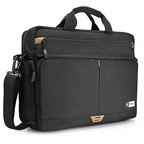 tomtoc Mens Messenger Bag 15.6 Inch Waterproof Casual Vintage Briefcase Large Satchel Travel Shoulder Bag Computer Laptop Protective Bag, Black