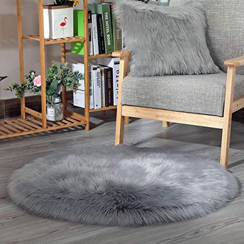 Faux Lammfell Schaffell Teppich, HEQUN Lammfellimitat Teppich Longhair Fell Optik Nachahmung Wolle Bettvorleger Sofa Matte (Grau, 45 X 45 cm)