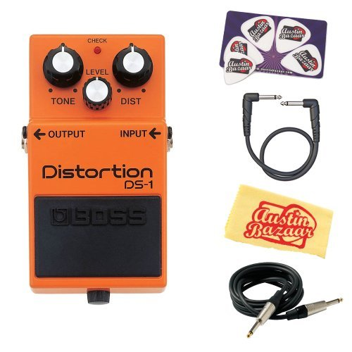 Boss DS-1 Distortion Bundle with Instrument Cable, Patch Cable, Picks, and Austin...