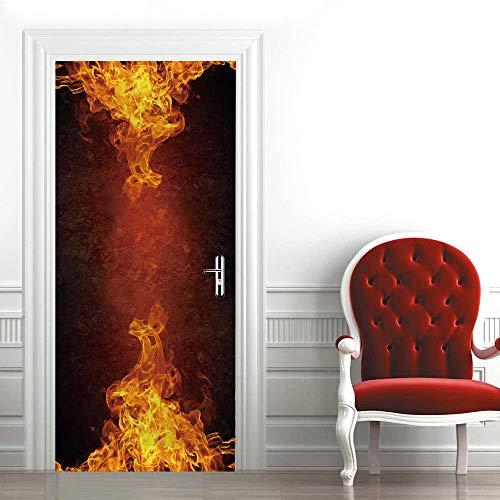 FGHYTR Pegatina 3D para puerta, póster autoadhesivo de pared de PVC fuego 77 x 200 cm Art Decals creativo, papel pintado para puerta, resistente al agua, extraíble, decoración para dormitorio