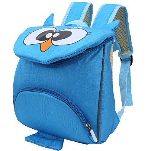 Qioniky Toddler Schoolbag, Durable Baby Carrier Backpack, Comfortable Oxford Cloth Cool Sturdy for 3 To 6 Years Old Baby Travel Shopping School(Owl blue)