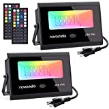 Novostella 2 Pack 20W RGB LED Flood Light, 44 Keys Controller, Dimmable Color Changing DIY Floodlight, Wall Washer Lights, IP66 Waterproof, Indoor Outdoor Landscape Stage Lighting for Christmas Garden