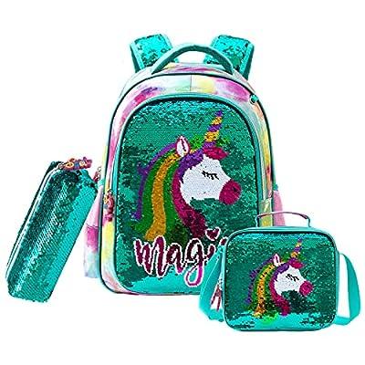 Wenlia Mochila para Niñas con bolsa de lápices, bolsa de almuerzo, Unicornio Cartera Escolar para niños, Primaria Mochila Escolar de Lentejuelas Reversibles Regalo ideal
