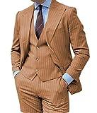 Hombres Tres Piezas Slim Fit Vertical Stripe Hombres Traje De Groomsmen Formal Esmoquin Pantalones (Blazer+Chaleco+Pantalón), Marrón, Por Encargo