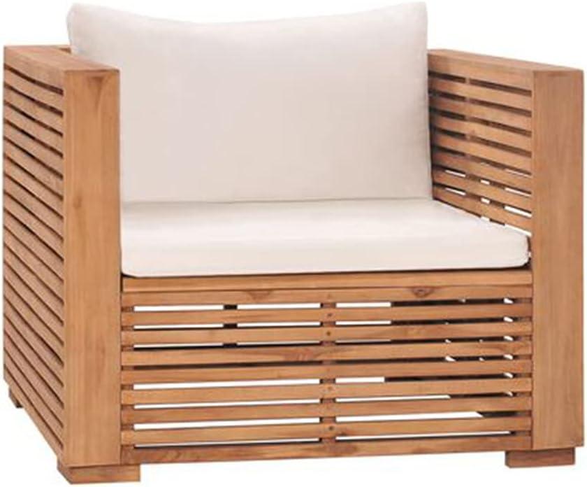 Finally popular brand ZAMAX Natural OFFicial shop Teak Wood Garden Sofa Cushions Chair with Cream fo