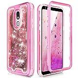 TJS Phone Case Compatible with LG Aristo 4,Aristo 4 Plus +,Escape Plus,K30 2019,Arena 2,X2 2019,Tribute Royal,Journey LTE, Transparent Liquid Glitter Snap On Hybrid Moving Quicksand Bumper (Pink)