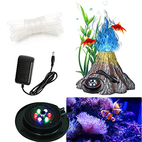 Aquarium Bubble Light Aquarium Volcano Ornament Kit Air Bubbler Decorations for Fish Tank, Air Stone LED Light with 6 LEDs, Aquarium Decorations Airstone Bubbler Volcano Shaped Ornament Kit Set