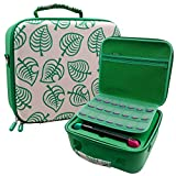 Carrying Storage Case for Nintendo Switch/Switch OLED Model, Portable Travel All Protective Hard Messenger Bag Soft Lining 21 Games for Switch Console Pro Controller and Accessories, Green
