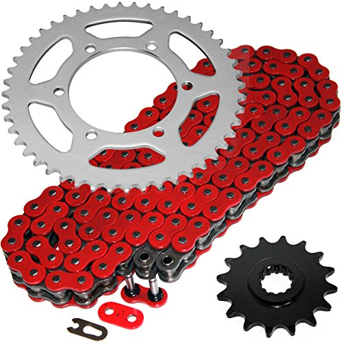 Caltric Red O-Ring Drive Chain & Sprockets Kit Compatible with Yamaha R6 Yzfr6 Yzf-R6 2003-2005