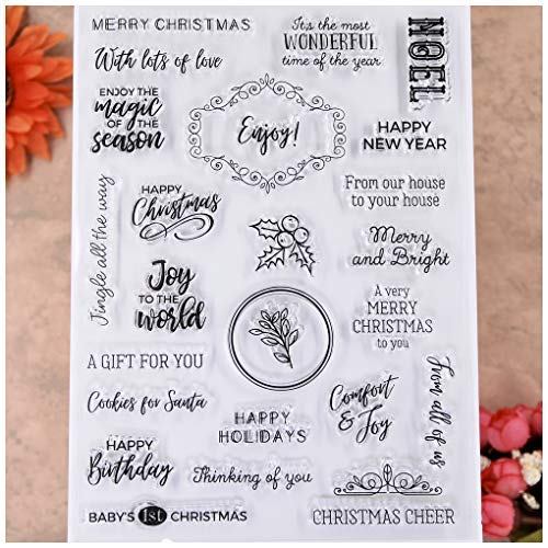 KWELLAM Words NOEL Happy Holidays Thinking of you Enjoy Clear Stamps for Card Making Decoration and DIY Scrapbooking