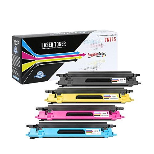 Awesometoner Compatible TN115�s High Yield Laser Toner Cartridge for Brother: 1 each of Black TN115BK, Cyan TN115C, Magenta TN115M, Yellow TN115Y