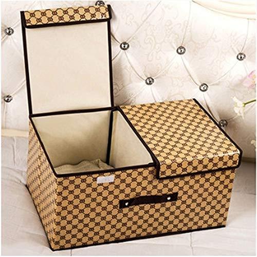 ETRZ Clothes storage box cloth art folding double cover storage box brown grid (36 * 25 * 16cm)
