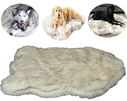 HANHAN Deluxe Dog Bed Calming Cushion Extra Large Sofa xxl Cosy Comfy Mattress xl Plush Faux Fur Mat Memory Foam Anti Anxiety Personalised Pad