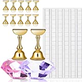 Kalolary 2 Sets Nail Tips Stand Holders with 102Pcs White Reusable Adhesive Putty Clay, Practice Crystal Stand Base Display Tools Set for Nail Art Salon DIY and Practice Manicure