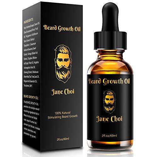 Olio da Barba, 60ml Olio per la Crescita della Barba da Uomo, Puro aroma naturale Ammorbidisce la Barba, Stop a Prurito e Forfora, stimola la crescita e la lucentezza
