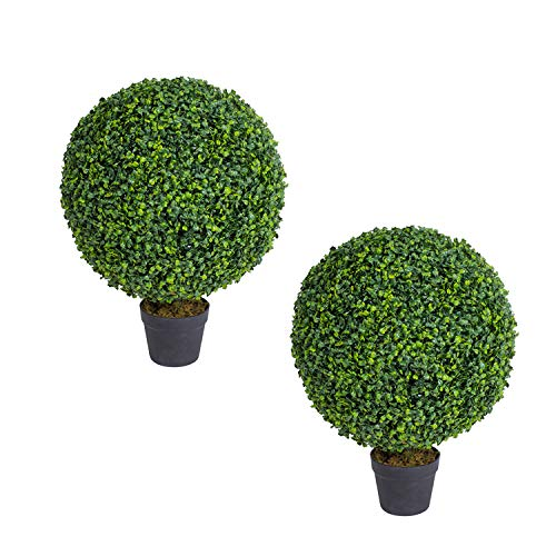 THE BLOOM TIMES 24 Inch Faux Boxwood Topiary Balls Artificial Outdoor Set of 2 Shrubs Bushes Fake Trees Potted UV Resistant Plants for Home Office Planter Urn Filler Indoor Outside Decor 2FT