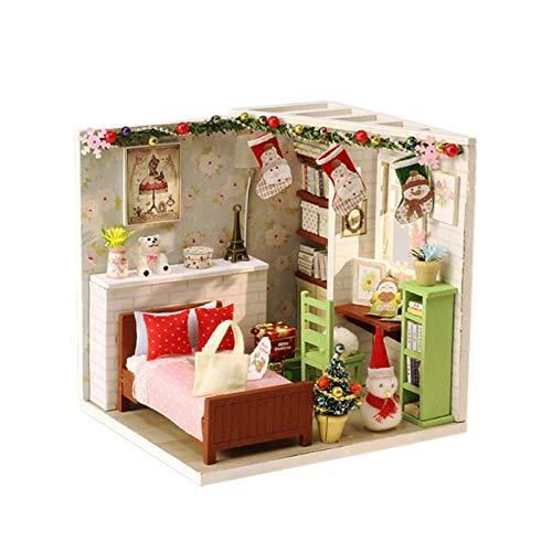 raspbery DIY Puppenhaus Handmade Assembled Mini Hut Holz Miniatur Handmade Dolls House Spaß Assembled Toy Cabin Geschenk Schlafzimmermöbel Puppenhaus Für Kinder Geburtstagsgeschenk