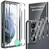 5 Pack LK 2 Pcs Screen Protector + 3 Pcs Camera Lens Protector Compatible with Samsung Galaxy S21 Tempered Glass, Work with Fingerprint Reader, Easy Installation, 9H Hardness, Touch Sensitivity