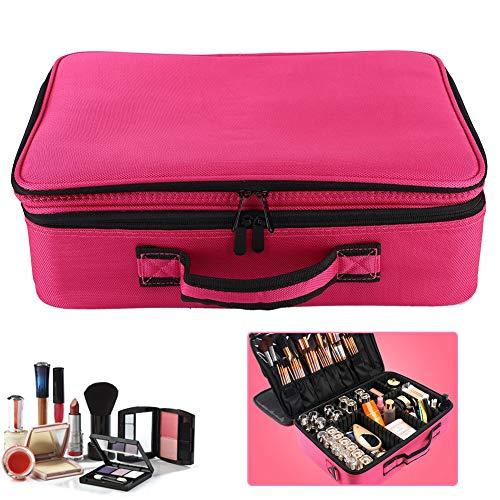 Honghong Organisateur cosmétique de Sac de cosmétique, Organisateur de Maquillage Portable étanche de Grande capacité, 3(Upgraded Three-Layer Tattoo kit-Rose Red)