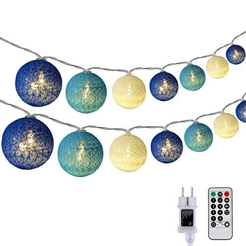DeepDream Kugeln Lichterkette 6.6m 30 LED Cotton Ball Lichterkette Dimmbar Baumwollkugeln Lichterkette Innen Lichterkette mit Fernbedienung Timer für Zimmer Kinderzimmer Hochzeit Party (Königsblau)