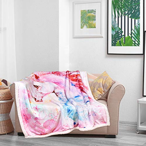 Romeooera Pink Unicorn Blanket Girl's Cartoon Unicorn Blanket Watercolor Print Super Soft Warm Throw Blanket for Sofa Clair Bed Office for Kids, Girls, Adults,Teens, Pink, 50x60 inch