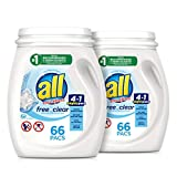 All Mighty Pacs with stainlifters free clear Laundry Detergent, Free Clear for Sensitive Skin, 66 Count - (Pack of 2)