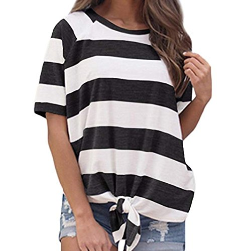 Forthery Women Casual Stripe Knot T-Shirt Short Sleeve Tunic Tops Blouse Clearance Sale(Black , M)