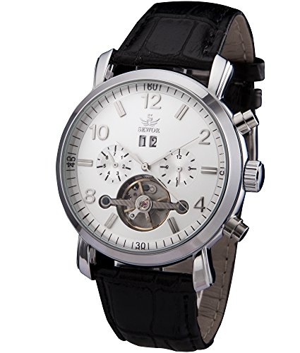 SEWOR Herren Tourbillon automatische Selbst Wind Armbanduhr mit schwarz Leder (Weiß)